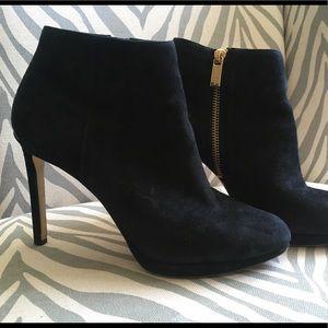 Suede black closed heel boots